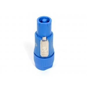 Conector powercon a cable c/ traba (azul)