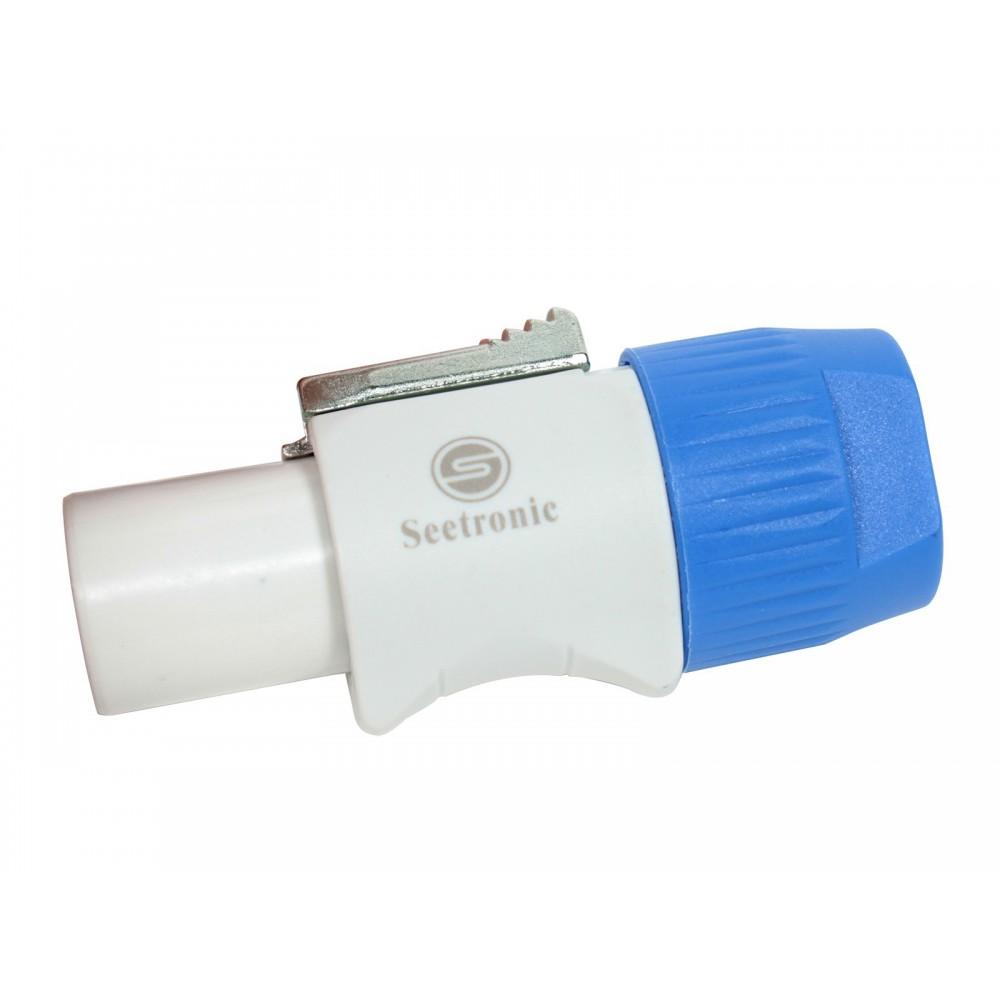 Conector powercon a cable c/ traba (Blanca)