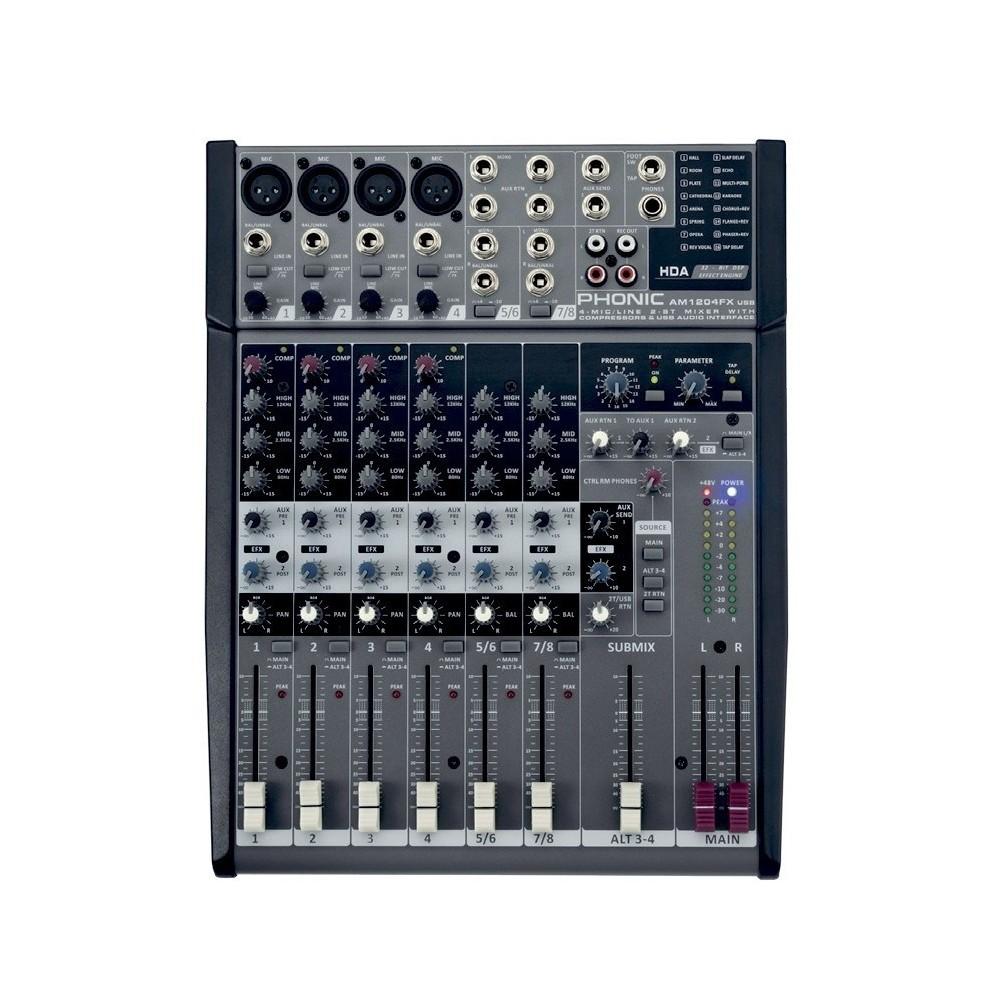 Mixer compacto AM1204FX 4 Mic/Linea + 2 St, Eq 3Bd, Efectos